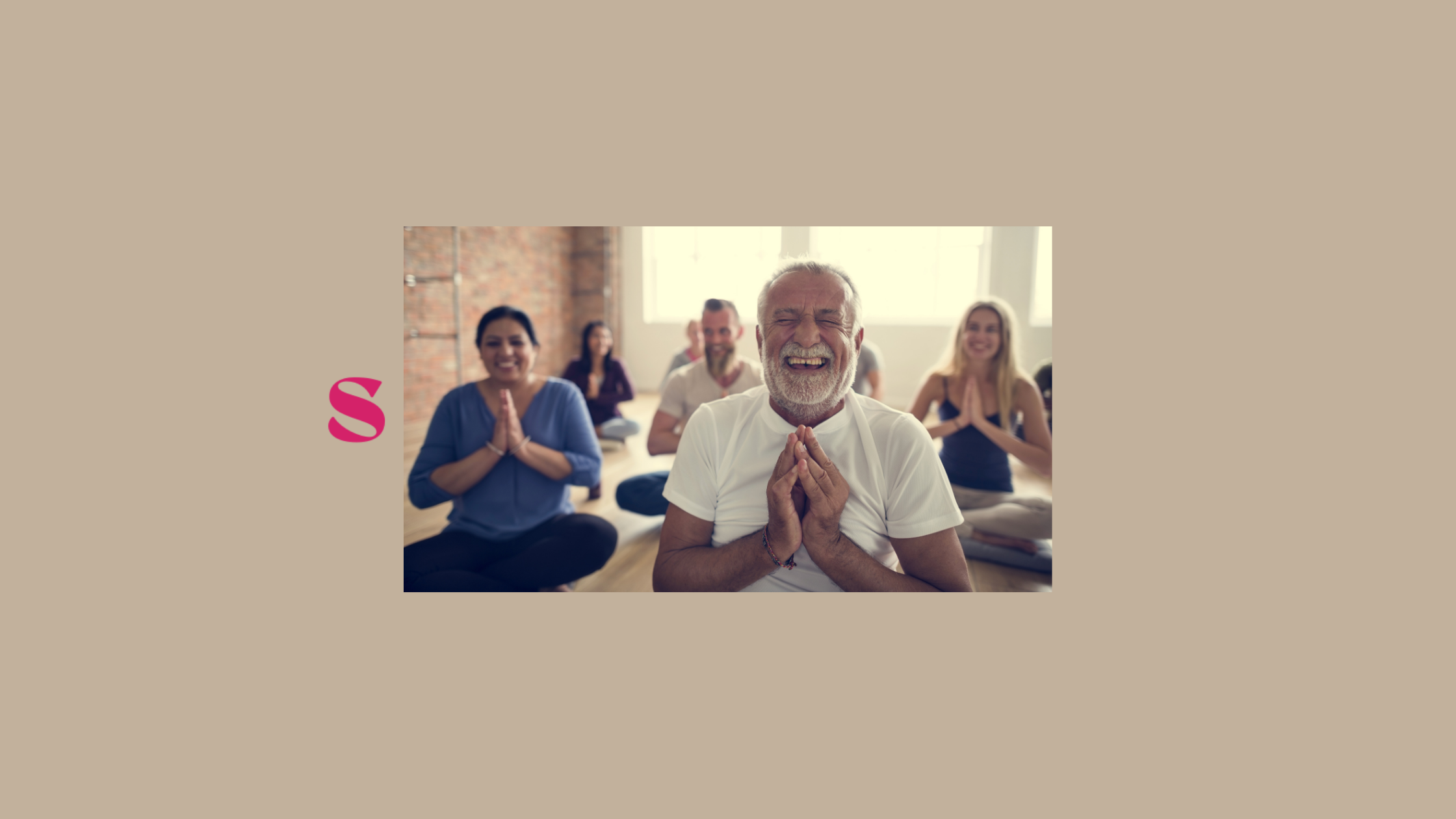 Man smiling in yoga class