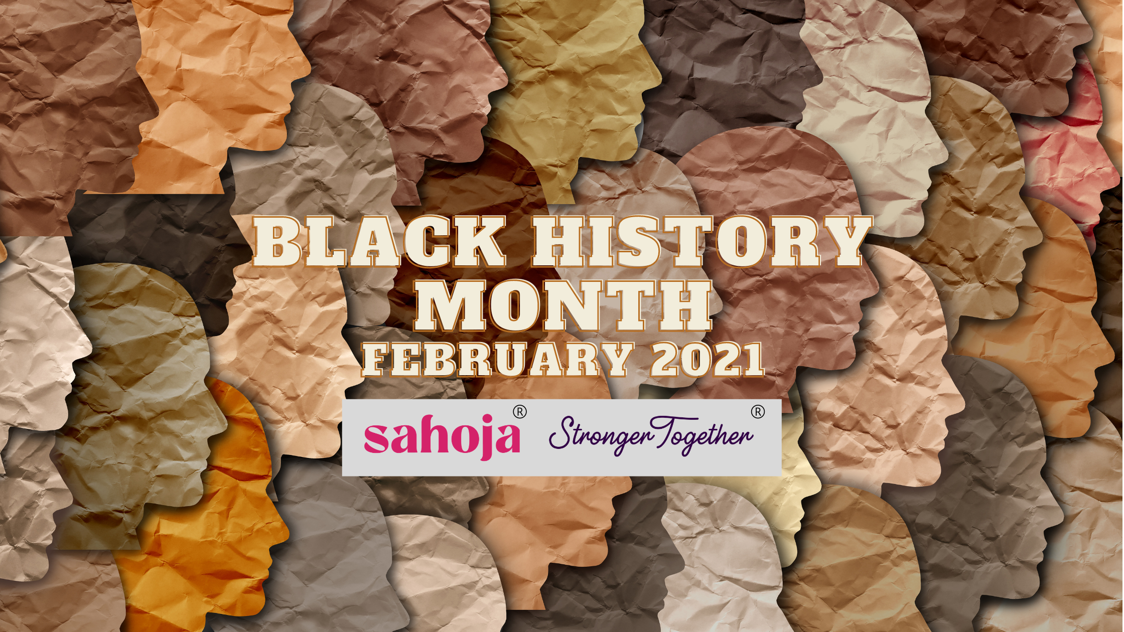 Black History Month February 2021 with faces of different shades