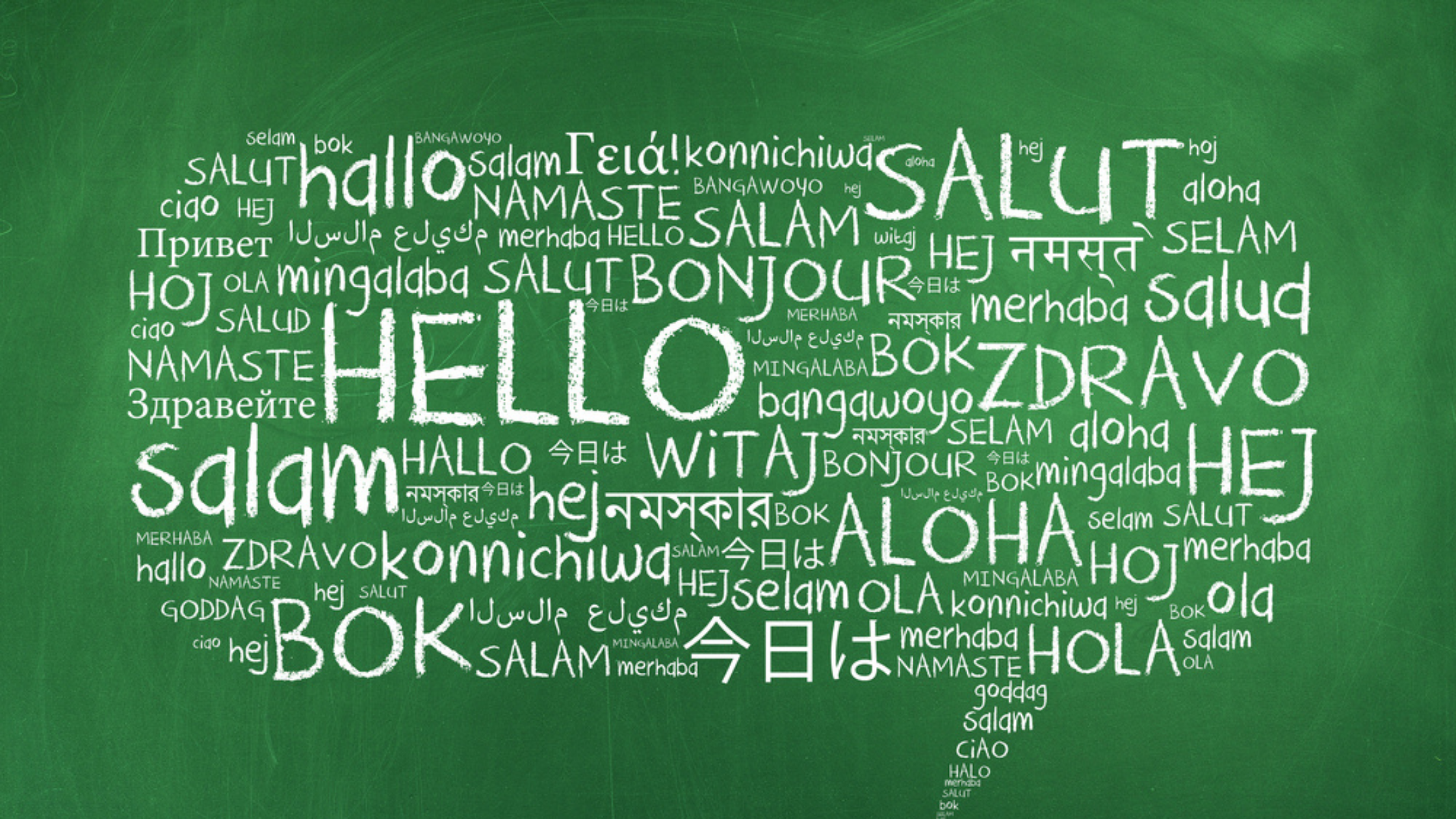 Hello written on a chalkboard in multiple languages